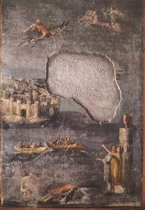 Icarus falling (on a wall painting from Pompeii,about 79 AD)