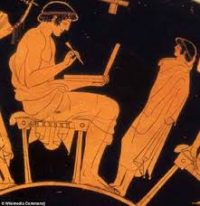 A young teacher and a student talking about the lesson (Athens, 400s BC)