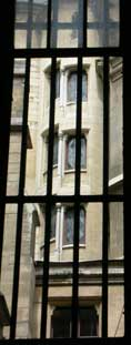 The windows of the spiral staircase inside the Conciergerie