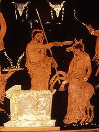 Agamemnon prepares to sacrifice Iphigeneia