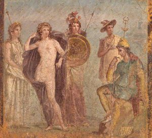 Judgment of Paris -Paris is on the right (A fresco from Pompeii, ca. 79 AD)
