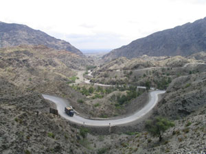 Khyber pass from Afghanistan into Pakistan