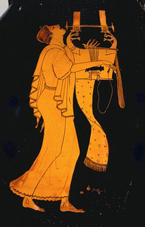 A woman with short hair plays a harp on a red-figure vase - Greek art