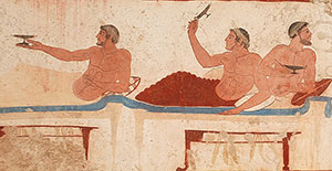 Playing the kottabos game (Tomb of the Diver, Paestum, ca. 470 BC)