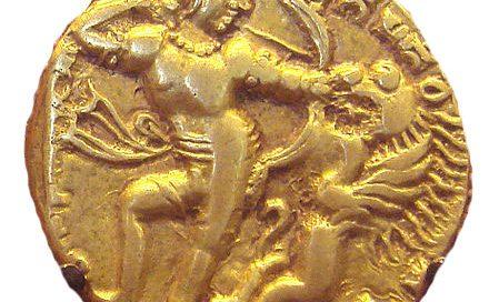 Coin of Kumaragupta shooting a lion