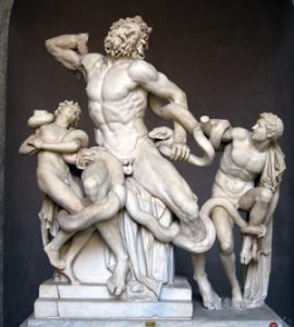 Laocoon: being strangled by snakes