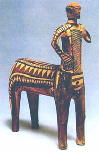 Clay figurine of a centaur (half-man, half-horse).