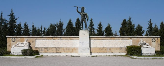 The monument that stands at Thermopylae today (it's not ancient though)