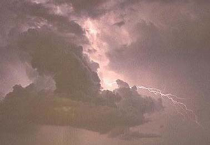 lightning through the clouds: Zeus throws a thunderbolt