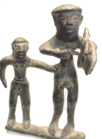 Lyre player and his slave (Greece, about 680 BC, now in the Getty Museum)