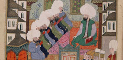 Students hearing a lecture in a madrassa