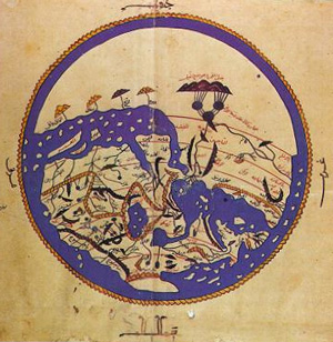 al-Idrisi's map of the world (1100s AD)