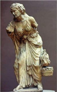 Hellenistic sculpture of a woman selling vegetables at the market