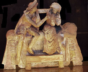 Marriage bed: terracotta model of a girl and a man on a bed
