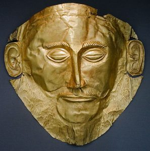 Golden mask of Agamemnon, from Mycenae, Greece (1500 BC).