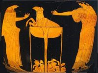 Medea makes the old ram young again on a red figure vase