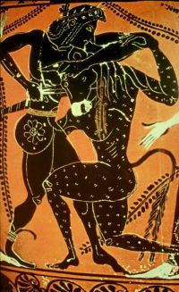 Theseus kills the Minotaur Athenian black-figure vase, ca. 550 BC