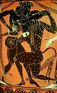 Theseus kills the MinotaurAthenianblack-figure vase, ca. 550BC
