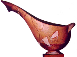 Minyan Ware - a red clay sauceboat with a long spout