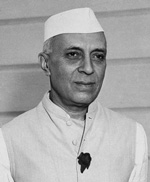 Nehru: an indian man in a plain white hat and shirt