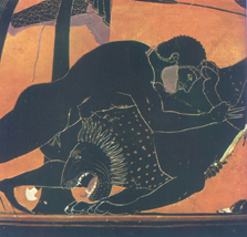 Hercules fighting the Nemean Lion - Athenian black-figure vase, 500s BC