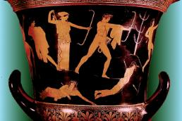 A man and a woman shoot bows at naked children on a red figure vase