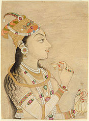 Nur Jahan: a painting of an Indian woman wearing a hat like a fez