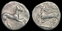 Silver obol (front and back) from Kelenderis in Cilicia (300s BC)