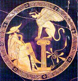 Oedipus and the Sphinx on a red-figure vase - the Riddle of the Sphinx