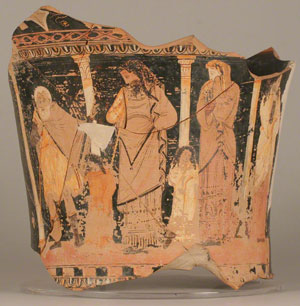 The shepherd tells his story to Oedipus, while Jocasta listens in horror (now in the Getty Museum) - Oedipus Rex