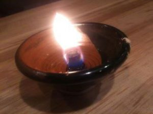 A homemade oil lamp