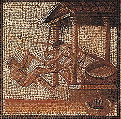 Roman olive press mosaic (200-250 AD) now in St. Germain en Laye, France