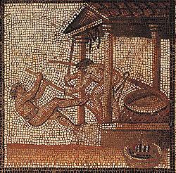 Roman olive press mosaic (200-250 AD) now in St. Germain en Laye, France - the Roman economy