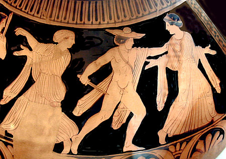 Orestes kills Clytemnestra - red figure vase