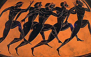Men's footrace on a black figure pot