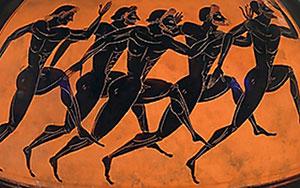 Men's footrace on a black figure pot