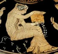 (This isn't really Pandora (it's a Muse) but there aren't any Greek pictures of Pandora opening the box) - Louvre Museum