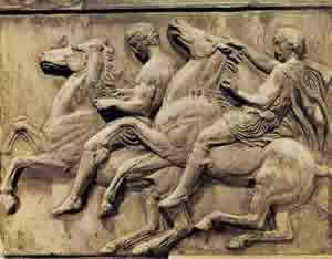 Young men ride horses on the Parthenon frieze