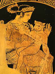 Pasiphae holds the baby Minotaur