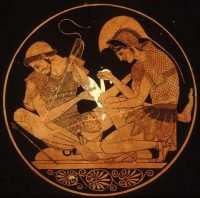 Achilles bandaging the wounded Achilles binding up the wounds of Patroclos (Athens, red-figure vase, 500 BC -now in Berlin)