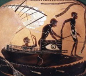Black figure vase: a boy prepares to jump off a ship