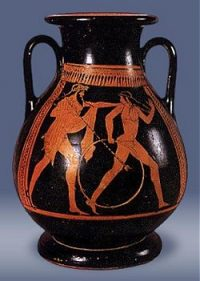 Poseidon in love with Pelops on a red figure vase