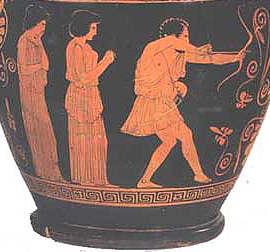 Penelope and her slave watch Odysseus kill the suitors