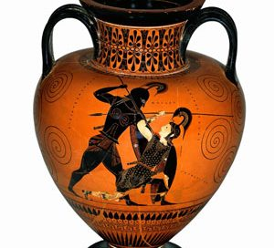 Achilles kills Penthesileia just at the moment that they fall in love (Athens, ca. 540 BC)