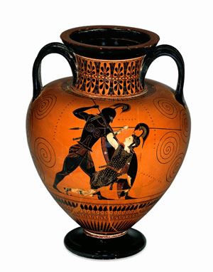 A black figure vase shows a man standing over a white woman
