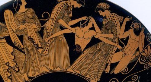 Agave and her followers tear Pentheus apart under the influence of Dionysos