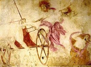 Hades kidnaps Persephone, from Vergina (ca.330 BC)