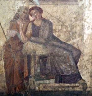 Phaedra gives her slave a message forHippolytus (from Pompeii)
