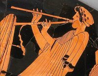Woman playing double pipes (Athens, ca. 500 BC)