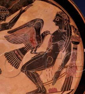Prometheus with the eagle eating his liver (Black figure vase ca. 550 BC, Vatican Museum)